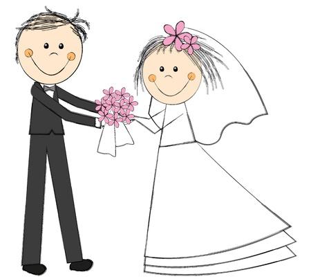 Pares de la boda con el ramo de flores photo