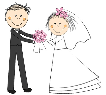 Wedding couple with floral bouquet Stock Photo - 20058380