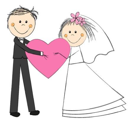 Pares de la boda con el coraz�n rosado photo