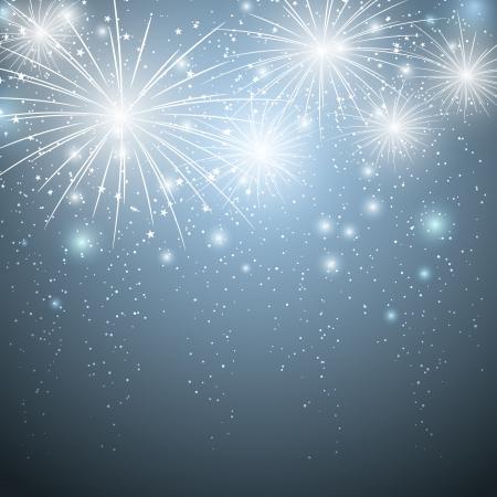 fuegos artificiales: Fuegos artificiales en el cielo azul estrellado