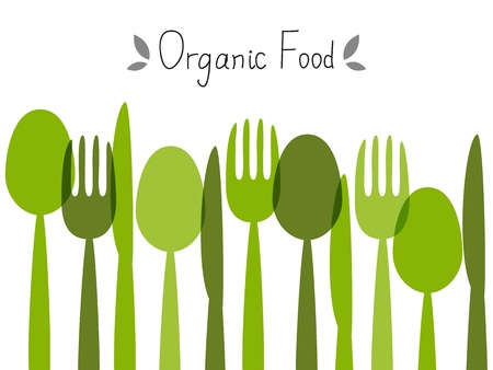 fork and spoon: Organic food background with place for text