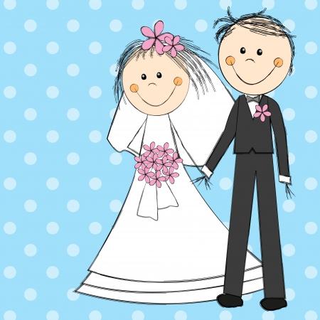 Wedding couple on blue background Stock Photo