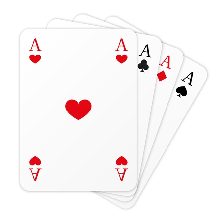 Four cards on white background