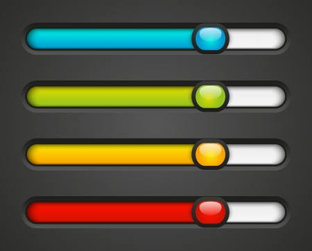 progress bar: Set of color progress bars Stock Photo