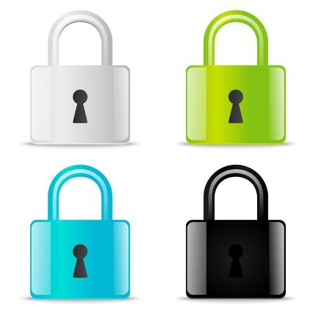 Set of glossy lock icons Stock Photo - 21424154