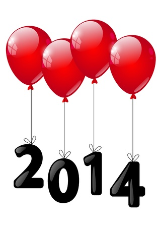 Year concept - red balloons with number 2014  photo