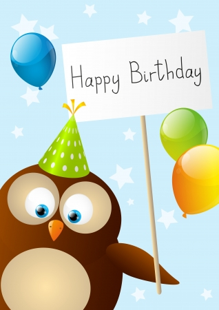 Birthday card with cute owl photo