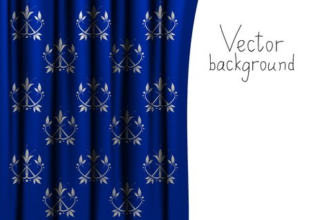 Vector curtain with floral pattern photo