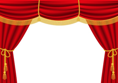 velvet rope: Vector illustration of red curtain