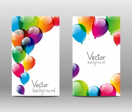 globos de cumpleaños: Banderas de vacaciones con globos de colores Foto de archivo