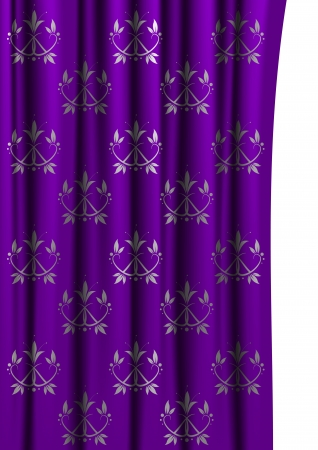 victorian background: Purple curtain with floral pattern