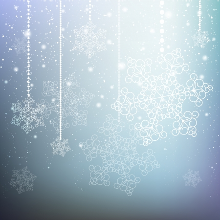 illuminating: Blue Christmas background with snowflakes
