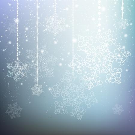 feriado: Navidad azul de fondo con copos de nieve