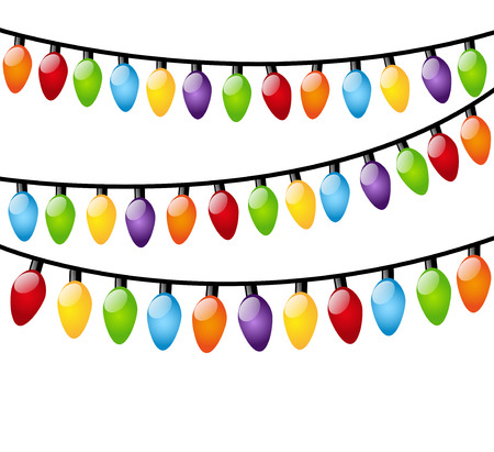 Christmas light bulbs on white Vector