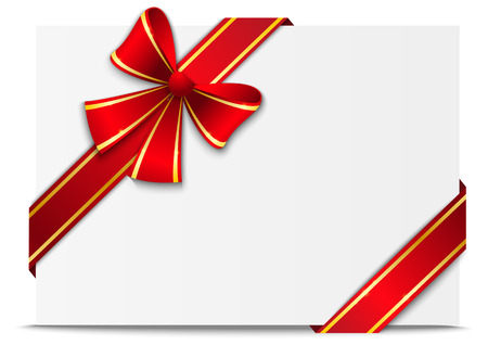 corner ribbon: Gift card with red ribbon