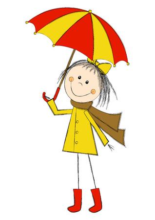 Cute cartoon girl with umbrella