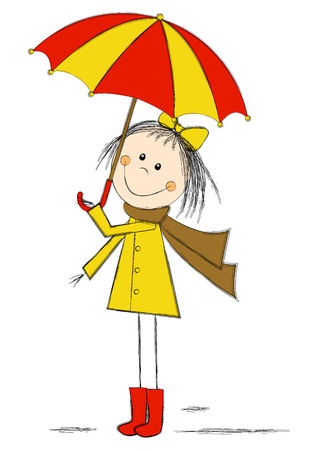 Cute cartoon girl with umbrella Vector