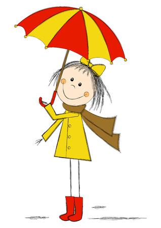 pretty little girl: Cute cartoon girl with umbrella