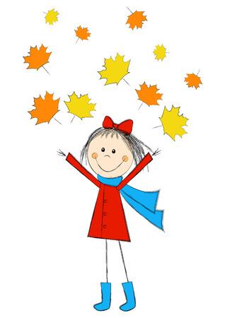 cartoon autumn: Cute cartoon girl with autumn leaves