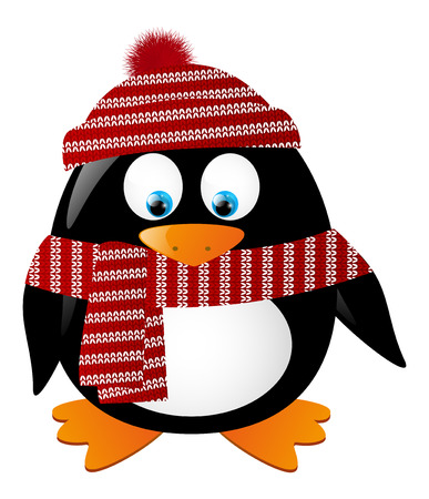 pinguinos navidenos: Ping?ino lindo aislado en blanco