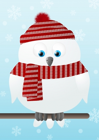 Cute snowy owl on winter background Vector