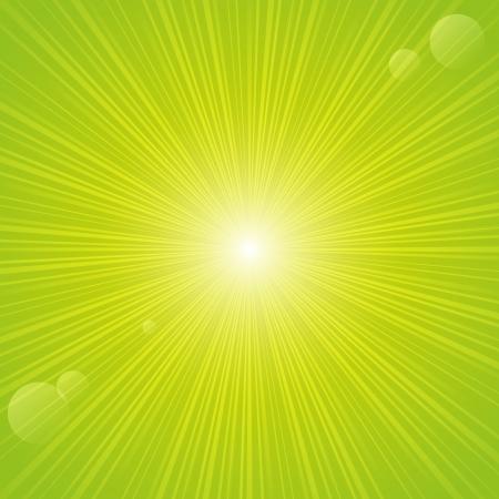 Sunny rays on green backgrund Vector
