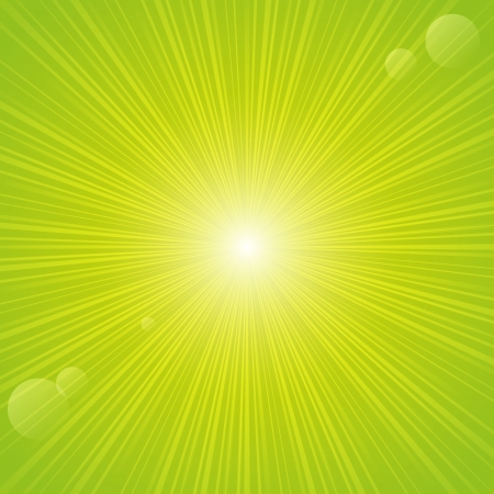 radiate: Sunny rays on green backgrund Illustration