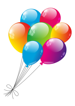 balloons party: Color glossy balloons on white