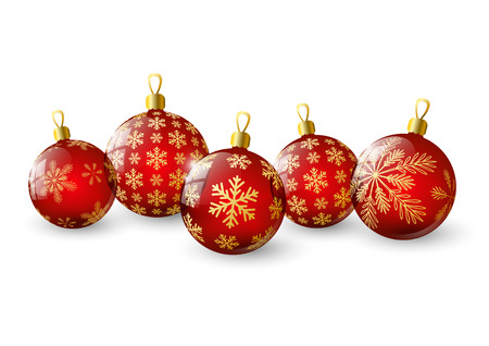 Red Christmas balls with snowflakes Vector