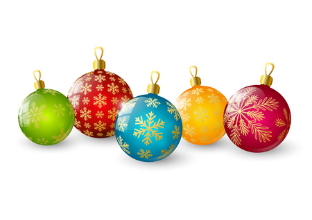 Color Christmas balls with snowflakes Vector
