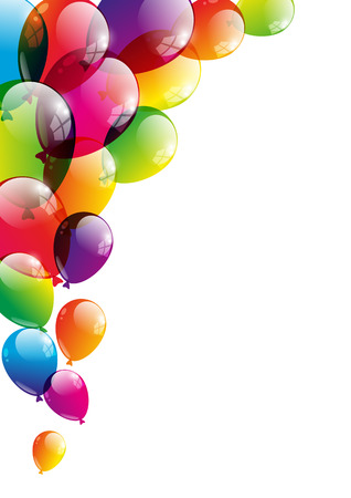 birthday present: Color background with glossy balloon Illustration