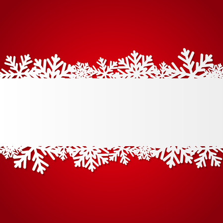 christmas border: Red Christmas background with paper snowflakes