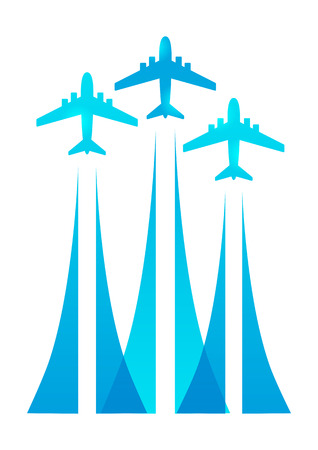 Airplane silhouettes on white background Vector