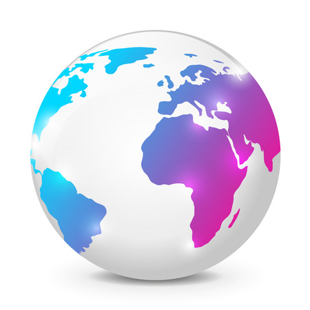 Earth globe on white background Vector