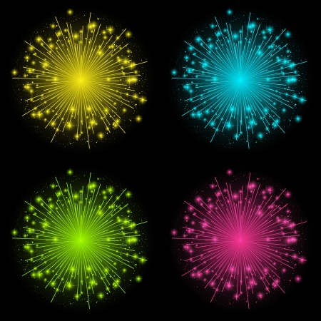 Set of four color fireworks Stock Vector - 22600058
