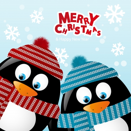 Christmas card with two penguins Vector