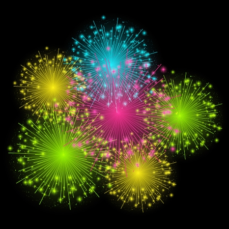 Shiny color fireworks on dark background Vector