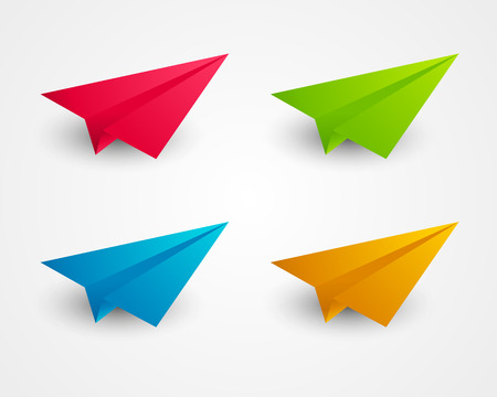 Set of color paper airplanes Vector