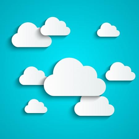 nubes caricatura: Fondo de papel con las nubes blancas