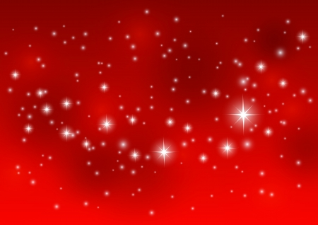 Shiny starry lights on red background