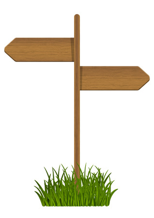 Wooden signpost on green grass Vector