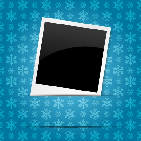 Christmas photo frame on blue background Vector
