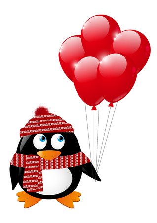 Cute penguin with red balloons Stock Vector - 22713357