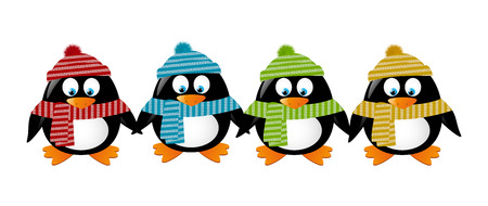border cartoon: Cute winter penguins holding hands