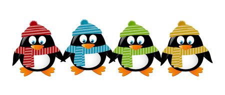 Pingouins mignons d'hiver se tenant la main