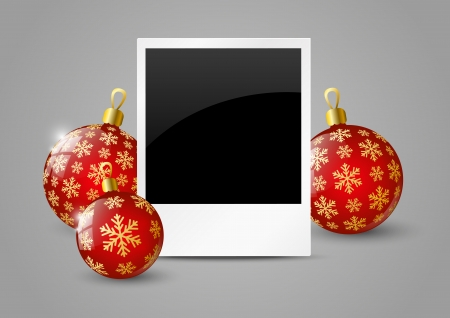 Photo card with Christmas balls