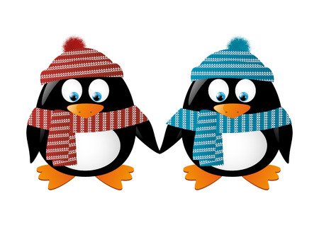 cartoon penguin: Two penguins wearing winter clothes