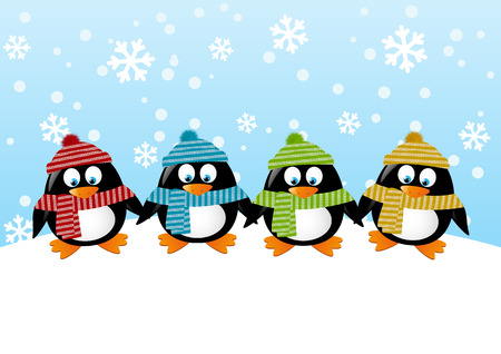 cartoon penguin: Cute penguins on winter background Illustration