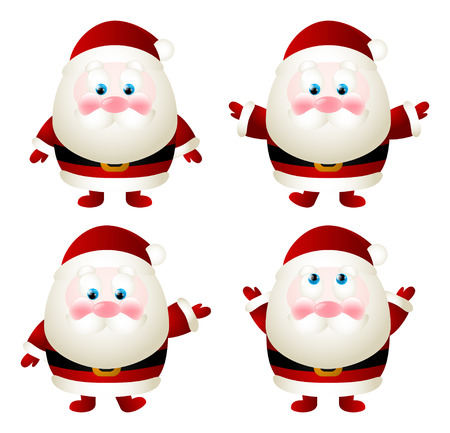 Set of cute Santa characters Vector