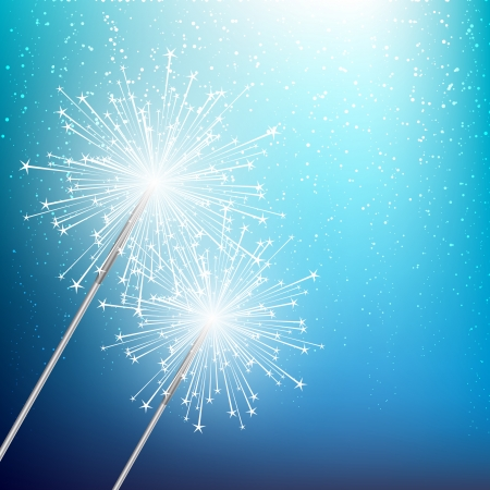 bengal light: Starry sparklers on blue background